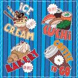 Set of emblems of Drink and Food royalty free illustration