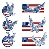 Set of the emblems with eagles on usa flag background. Design elements for logo, label, emblem, sign. vector illustration
