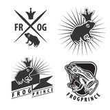 Set of emblems with frog prince Stock Photos