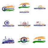 Set emblems of Independence Day of India. 15th August. Vector illustration. Set emblems of Independence Day of India. 15th August. Vector illustration stock illustration