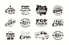 Set of emblems and logo for popcorn packaging Stock Photos