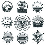 Set emblems mountain, labels and signs vintage Royalty Free Stock Photos