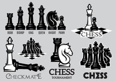 Set emblems and signs for the chess tournament Stock Photography