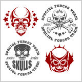Set of emblems with skulls Royalty Free Stock Photos
