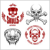 Set of emblems with skulls Stock Image