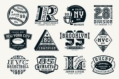 Set of emblems in sport style. Baseball, basketball and rugby themes. Graphic design for t-shirt. Black print on white background Royalty Free Stock Image