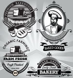 Set of emblems on the subject baking with the baker harvester Stock Photography