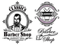 Set of emblems on a theme barber shop Royalty Free Stock Image