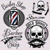 Set of emblems on a theme barber shop Stock Image