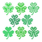 Set of embroidered leaves of shamrock Royalty Free Stock Photos