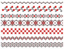 Set of embroidered lines Royalty Free Stock Images