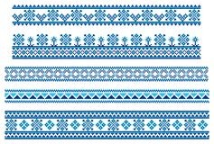 Set of embroidering pattern lines Royalty Free Stock Images
