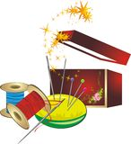 Set for embroidery and decorative box Royalty Free Stock Photography