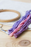 Set for embroidery, embroidery hoop and embroidery thread Royalty Free Stock Images
