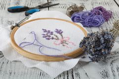 Set for embroidery, embroidery hoop, linen fabric, thread, scissors, embroidered needle bed Stock Images