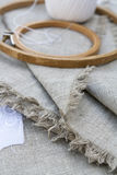 Set for embroidery, garment needle and embroidery hoop Royalty Free Stock Photos
