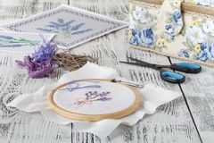 Set for embroidery, embroidery hoop, linen fabric, thread, scissors, embroidered needle bed Royalty Free Stock Image