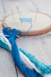 Set for embroidery,  hoop and  thread, selective focus Royalty Free Stock Photo