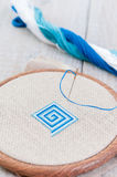 Set for embroidery,  hoop and  thread, selective focus Royalty Free Stock Image
