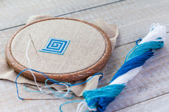 Set for embroidery,  hoop and  thread, selective focus Royalty Free Stock Photos