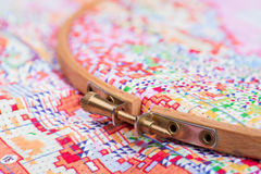 Set for embroidery by pattern with digits with needle, thread an Royalty Free Stock Photo
