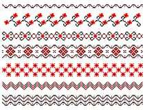 Set of embroidery pattern lines. Set of abstract seamless borders Royalty Free Stock Image