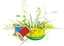 Set for embroidery with spring bouquet Royalty Free Stock Image