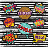 Set of embroidery text patch with pop art elements. Set of retro pop art designs with cartoon text and speech bubbles, ideal for embroidery patches or stickers Royalty Free Stock Images