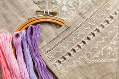 Set for embroidery with thread violet color Royalty Free Stock Image