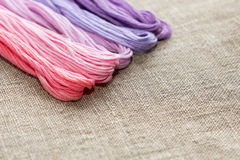 Set for embroidery with thread violet color Stock Photos