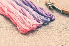 Set for embroidery with thread violet color Royalty Free Stock Photography