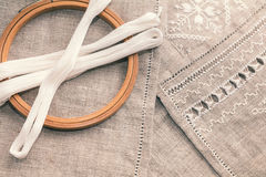 Set for embroidery with thread white color Royalty Free Stock Photo