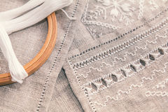 Set for embroidery with thread white color Royalty Free Stock Photography