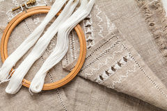 Set for embroidery with thread white color Stock Images