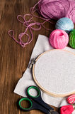 Set Embroidery : Threads and accessories and hoop Stock Image