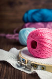 Set Embroidery : Threads and accessories and hoop Royalty Free Stock Photos
