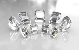 Set of emerald cut white diamonds Royalty Free Stock Photos