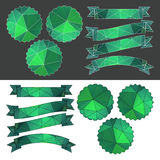 Set emerald ribbons and labels with a polygonal pattern. Vector Stock Image