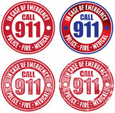 Set of Emergency 911 Stamps. Call 911 in case of emergency. Four different stamps/seals Royalty Free Stock Image