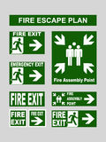 Set of emergency exit banners fire exit, emergency exit, fire assembly point, evacuation exit for fire escape plans. Set of green emergency exit banners fire Royalty Free Stock Photo