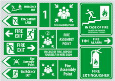 Set of emergency exit Sign (fire exit, emergency exit, fire assembly point) Stock Images