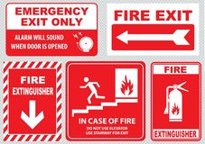 Set of emergency exit Sign (fire exit, emergency exit, fire assembly point) Royalty Free Stock Images
