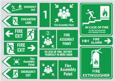 Set of emergency exit Sign Stock Photography