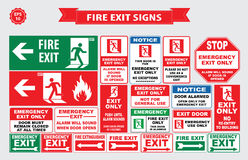 Set of emergency exit Sign Stock Images