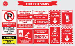 Set of emergency exit Sign. (fire exit, emergency exit, fire extinguisher, fire door, do not park in front door Royalty Free Stock Photos