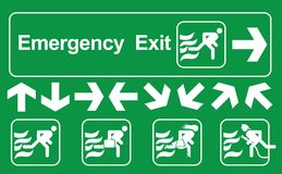 Set of emergency exit Sign : Green emergency exit sign on white , escape route signs , vector illustration.  Stock Photography