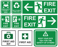 Set of emergency fire exit , emergency assembly area, first aid,. Recyclable items only  green signs with different directions isolated. Building site attention Stock Images