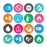Set of Emergency, Fire safety and Protection icons. Stock Image