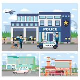 Set of emergency services building. City hospital building with ambulance, Fire station building, police department with officers in uniform , cars and city Royalty Free Stock Photos