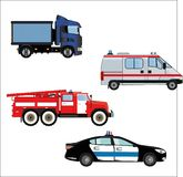 A set of emergency vehicles isolated on white background Stock Images